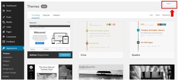 Screenshot of WordPress help button